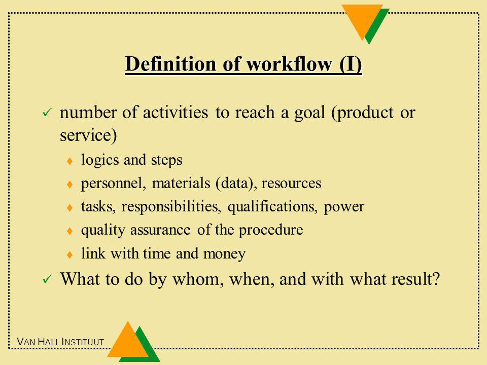 V AN H ALL I NSTITUUT Definition of workflow (I) number of activities to reach a goal (product or service) t logics and steps t personnel, materials (