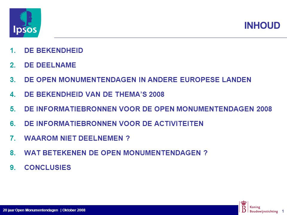 20 jaar Open Monumentendagen | Oktober 2008 1 1 INHOUD 1.DE BEKENDHEID 2.DE DEELNAME 3.DE OPEN MONUMENTENDAGEN IN ANDERE EUROPESE LANDEN 4.DE BEKENDHE