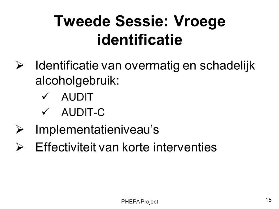 PHEPA Project 15 Tweede Sessie: Vroege identificatie  Identificatie van overmatig en schadelijk alcoholgebruik: AUDIT AUDIT-C  Implementatieniveau's