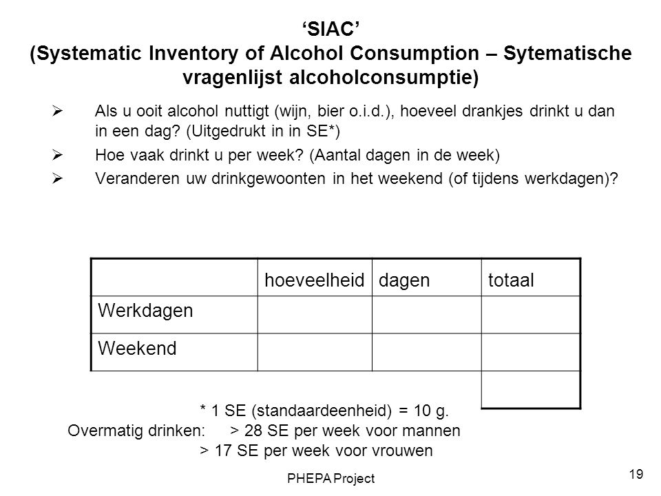 PHEPA Project 19 'SIAC' (Systematic Inventory of Alcohol Consumption – Sytematische vragenlijst alcoholconsumptie)  Als u ooit alcohol nuttigt (wijn, bier o.i.d.), hoeveel drankjes drinkt u dan in een dag.