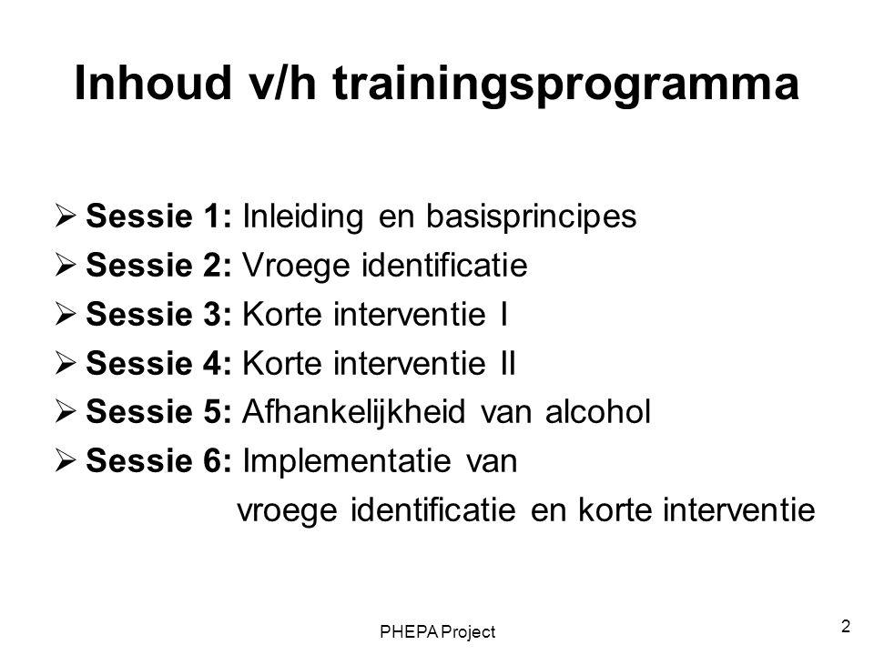 2 Inhoud v/h trainingsprogramma  Sessie 1: Inleiding en basisprincipes  Sessie 2: Vroege identificatie  Sessie 3: Korte interventie I  Sessie 4: K