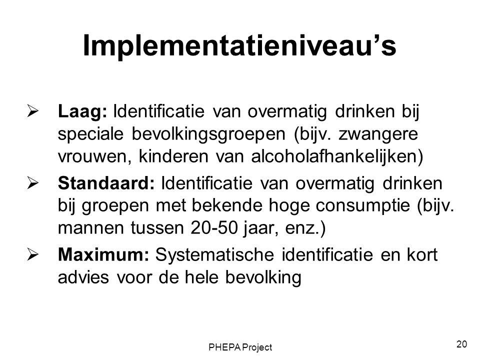PHEPA Project 20 Implementatieniveau's  Laag: Identificatie van overmatig drinken bij speciale bevolkingsgroepen (bijv. zwangere vrouwen, kinderen va