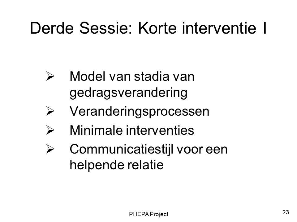 PHEPA Project 23 Derde Sessie: Korte interventie I  Model van stadia van gedragsverandering  Veranderingsprocessen  Minimale interventies  Communi