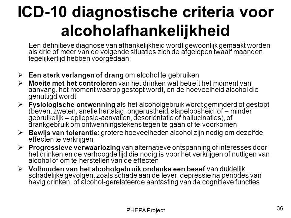 PHEPA Project 36 ICD-10 diagnostische criteria voor alcoholafhankelijkheid Een definitieve diagnose van afhankelijkheid wordt gewoonlijk gemaakt worde