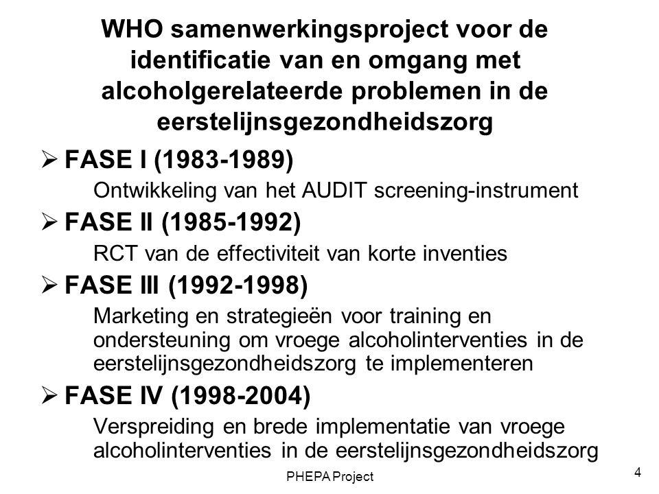 PHEPA Project 5 Het PHEPA-project  Doel: Gezondheidsbevorderende interventies tegen overmatig en schadelijk alcoholgebruik integreren in de dagelijkse klinische bezigheden van eerstelijnswerkers  Aanpak: Ontwikkelen van Europese aanbevelingen en klinische richtlijnen voor gezondheidszorg ten behoeve van overheid en hulpverleners Ontwikkelen van een Europees trainingsprogramma voor eerstelijnshulpverleners Opzetten van een uitgebreide database op internet over good practices