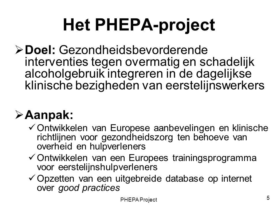 PHEPA Project 5 Het PHEPA-project  Doel: Gezondheidsbevorderende interventies tegen overmatig en schadelijk alcoholgebruik integreren in de dagelijks