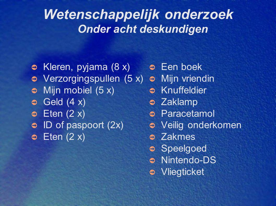 Wetenschappelijk onderzoek Onder acht deskundigen ➲ Kleren, pyjama (8 x) ➲ Verzorgingspullen (5 x) ➲ Mijn mobiel (5 x) ➲ Geld (4 x) ➲ Eten (2 x) ➲ ID of paspoort (2x) ➲ Eten (2 x) ➲ Een boek ➲ Mijn vriendin ➲ Knuffeldier ➲ Zaklamp ➲ Paracetamol ➲ Veilig onderkomen ➲ Zakmes ➲ Speelgoed ➲ Nintendo-DS ➲ Vliegticket