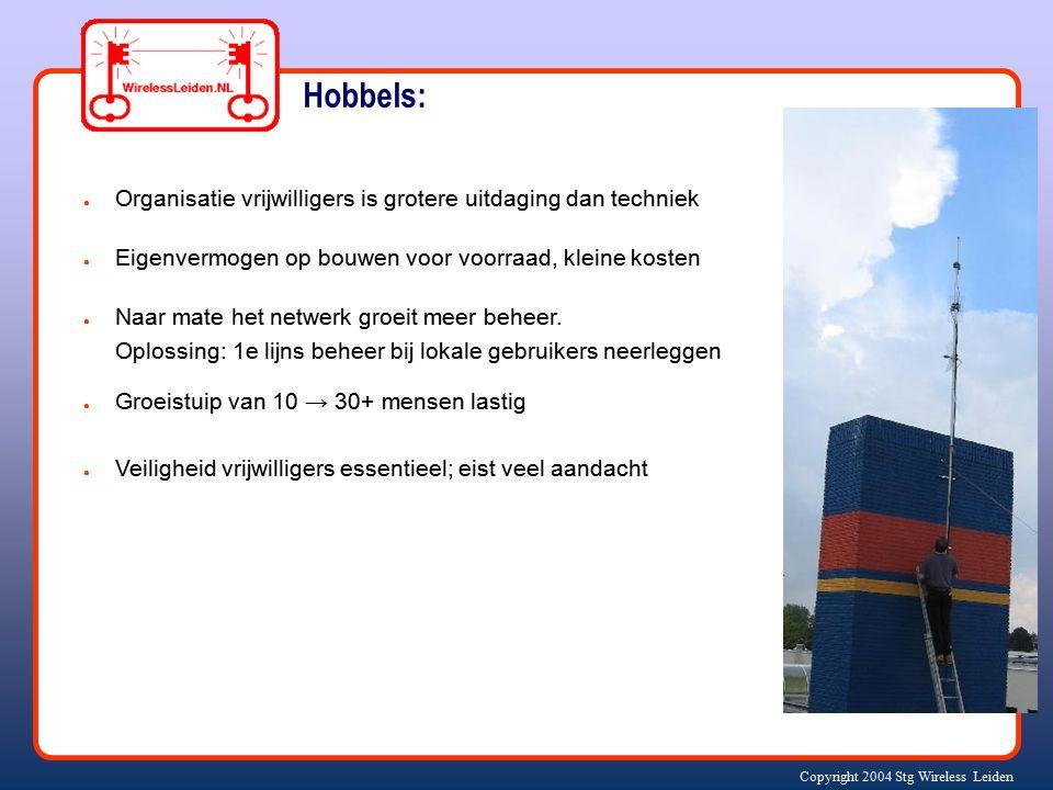 Copyright 2004 Stg Wireless Leiden ● Organisatie vrijwilligers is grotere uitdaging dan techniek ● Eigenvermogen op bouwen voor voorraad, kleine koste