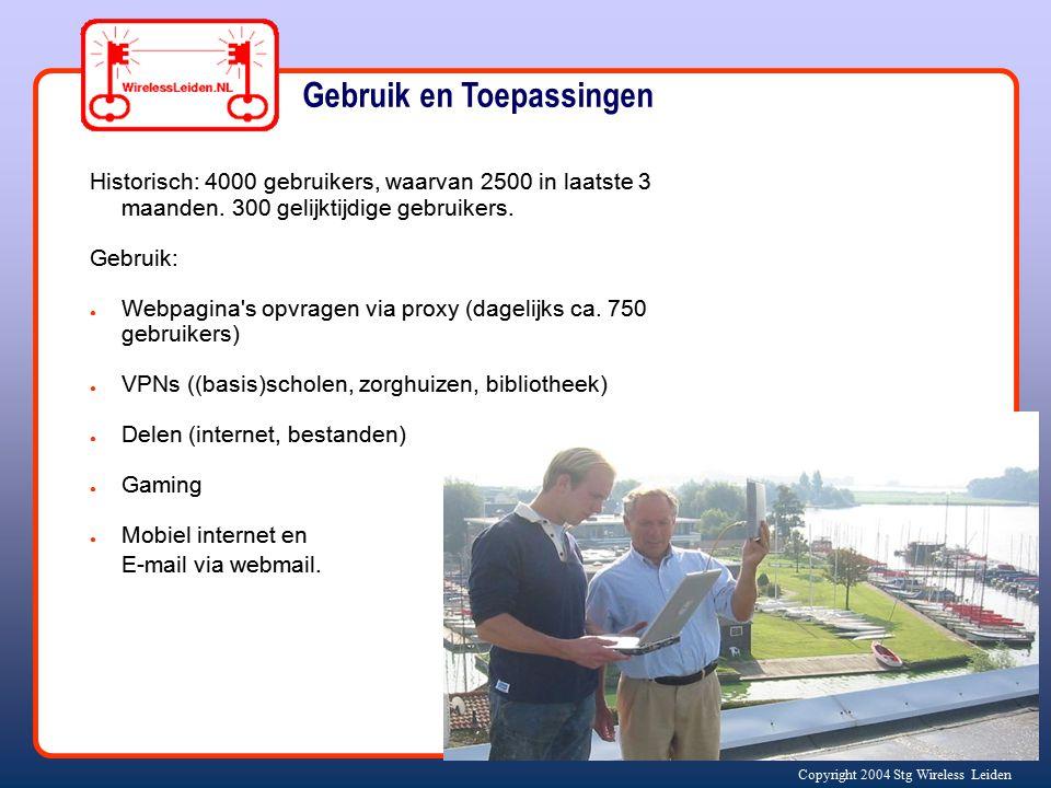 Copyright 2004 Stg Wireless Leiden Gebruik en Toepassingen Historisch: 4000 gebruikers, waarvan 2500 in laatste 3 maanden. 300 gelijktijdige gebruiker