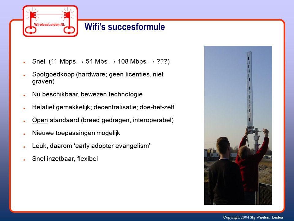 Copyright 2004 Stg Wireless Leiden ● Snel (11 Mbps → 54 Mbs → 108 Mbps → ???) ● Spotgoedkoop (hardware; geen licenties, niet graven) ● Nu beschikbaar,
