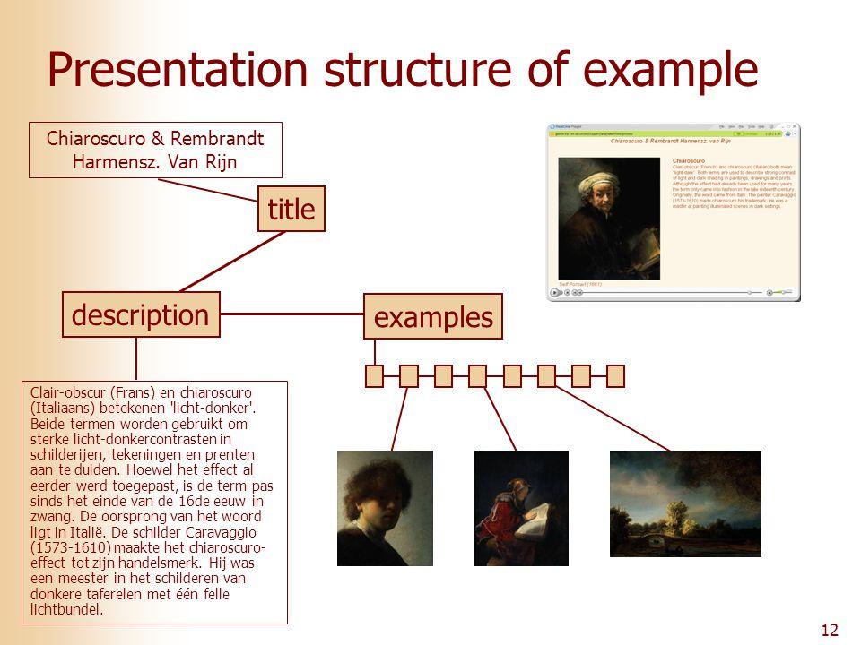 12 Presentation structure of example Clair-obscur (Frans) en chiaroscuro (Italiaans) betekenen licht-donker .
