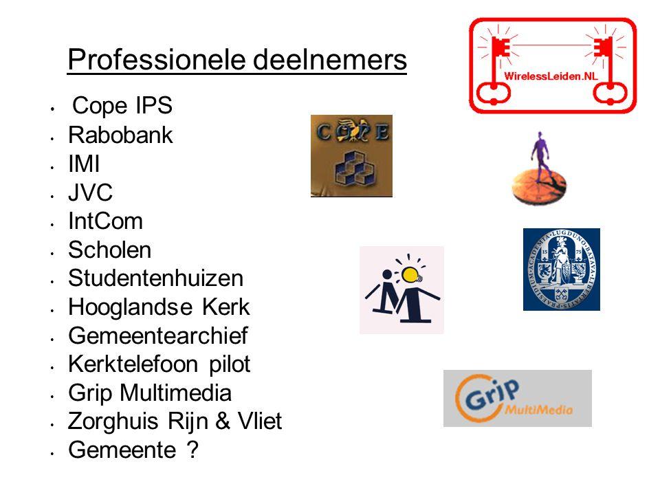 Professionele deelnemers Cope IPS Rabobank IMI JVC IntCom Scholen Studentenhuizen Hooglandse Kerk Gemeentearchief Kerktelefoon pilot Grip Multimedia Zorghuis Rijn & Vliet Gemeente ?