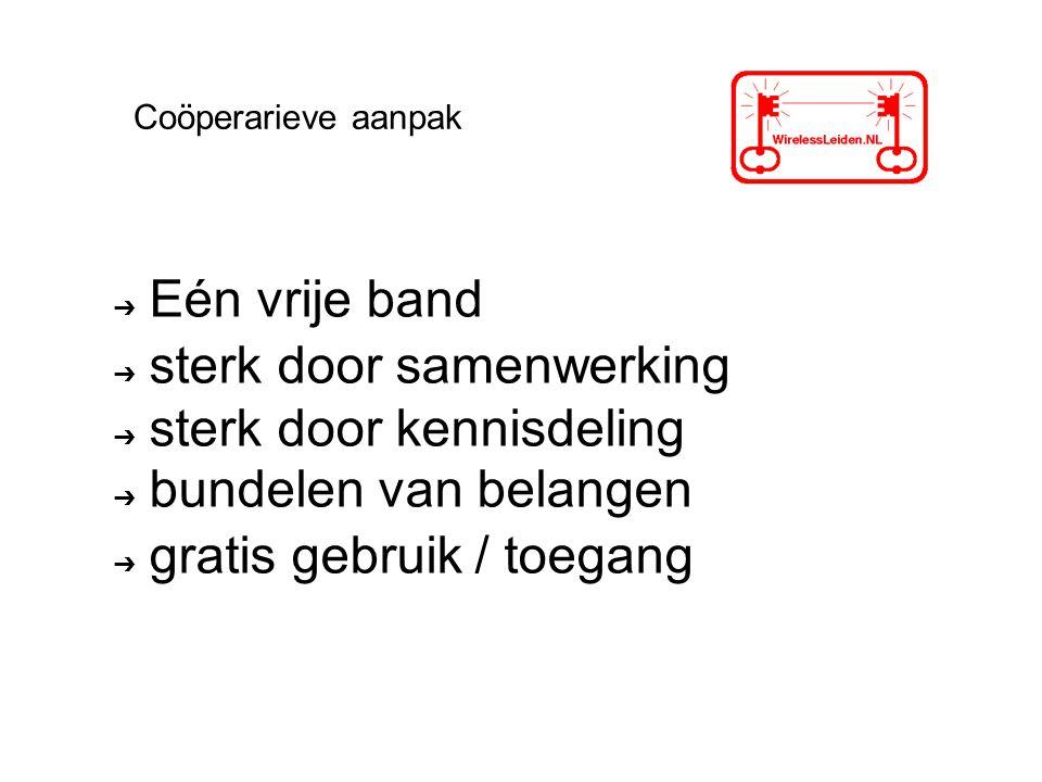 ➔ Eén vrije band ➔ sterk door samenwerking ➔ sterk door kennisdeling ➔ bundelen van belangen ➔ gratis gebruik / toegang Coöperarieve aanpak