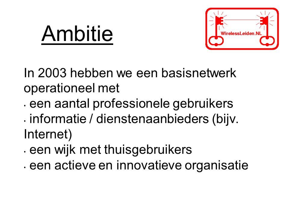 Ambitie In 2003 hebben we een basisnetwerk operationeel met een aantal professionele gebruikers informatie / dienstenaanbieders (bijv.