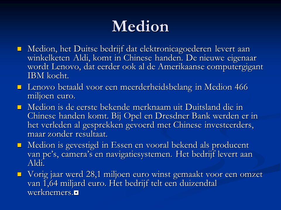 Medion Medion, het Duitse bedrijf dat elektronicagoederen levert aan winkelketen Aldi, komt in Chinese handen.