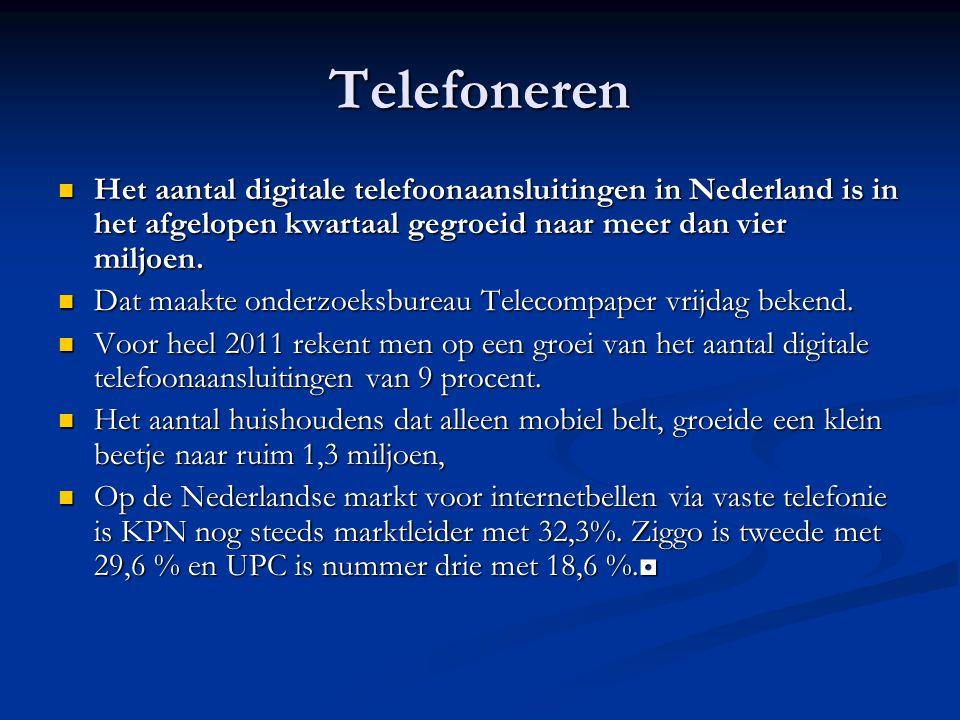 Telefoneren Het aantal digitale telefoonaansluitingen in Nederland is in het afgelopen kwartaal gegroeid naar meer dan vier miljoen.