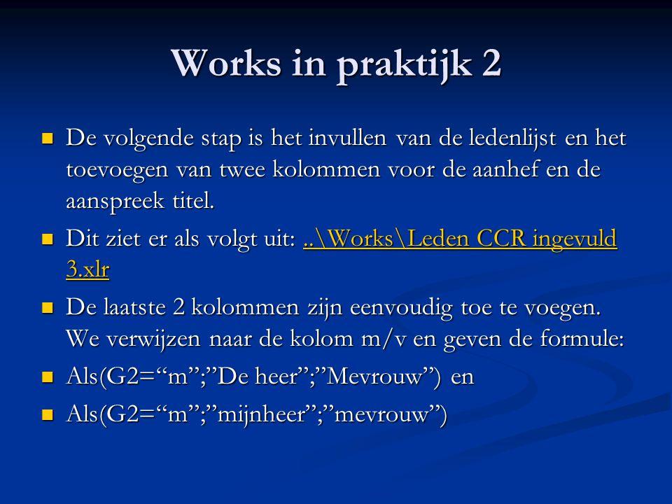 Works in praktijk 2 De volgende stap is het invullen van de ledenlijst en het toevoegen van twee kolommen voor de aanhef en de aanspreek titel.