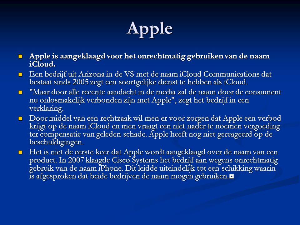 Apple Apple is aangeklaagd voor het onrechtmatig gebruiken van de naam iCloud.