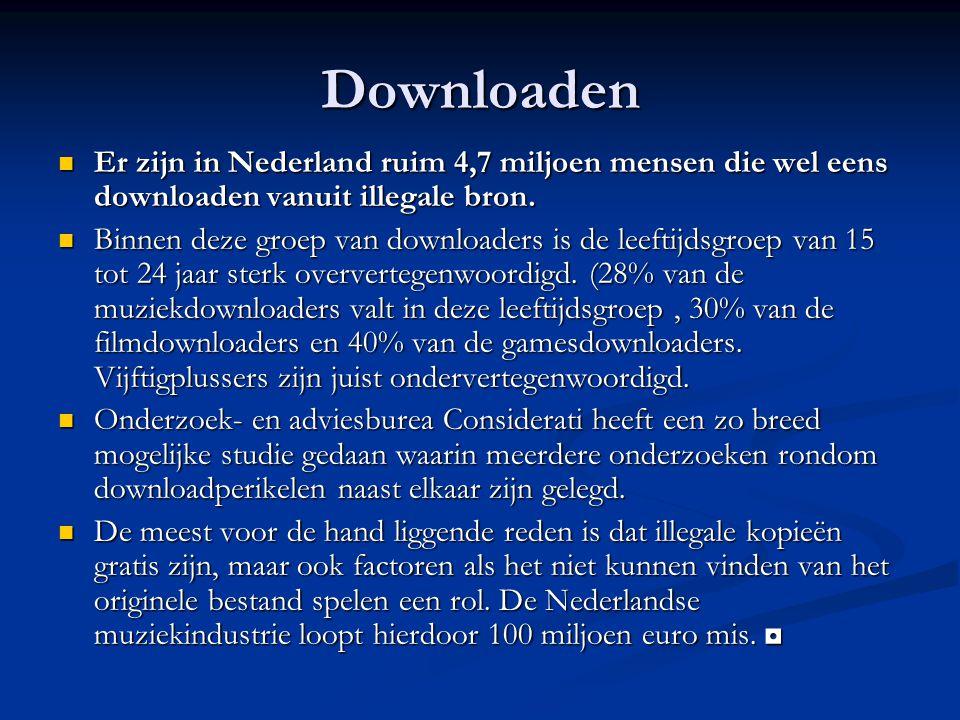 Downloaden Er zijn in Nederland ruim 4,7 miljoen mensen die wel eens downloaden vanuit illegale bron.