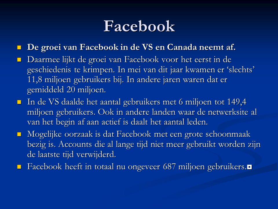 Facebook De groei van Facebook in de VS en Canada neemt af.