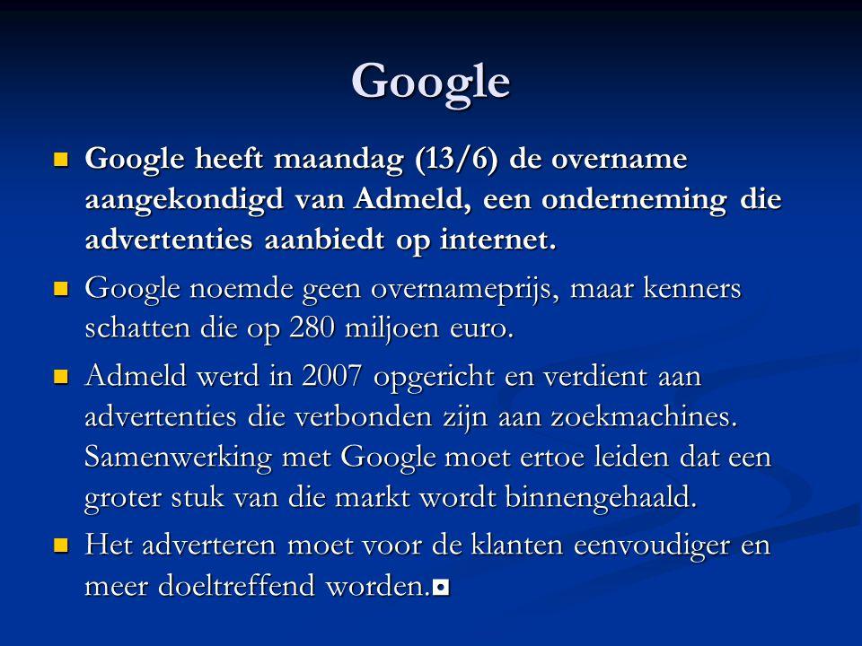 Google Google heeft maandag (13/6) de overname aangekondigd van Admeld, een onderneming die advertenties aanbiedt op internet.