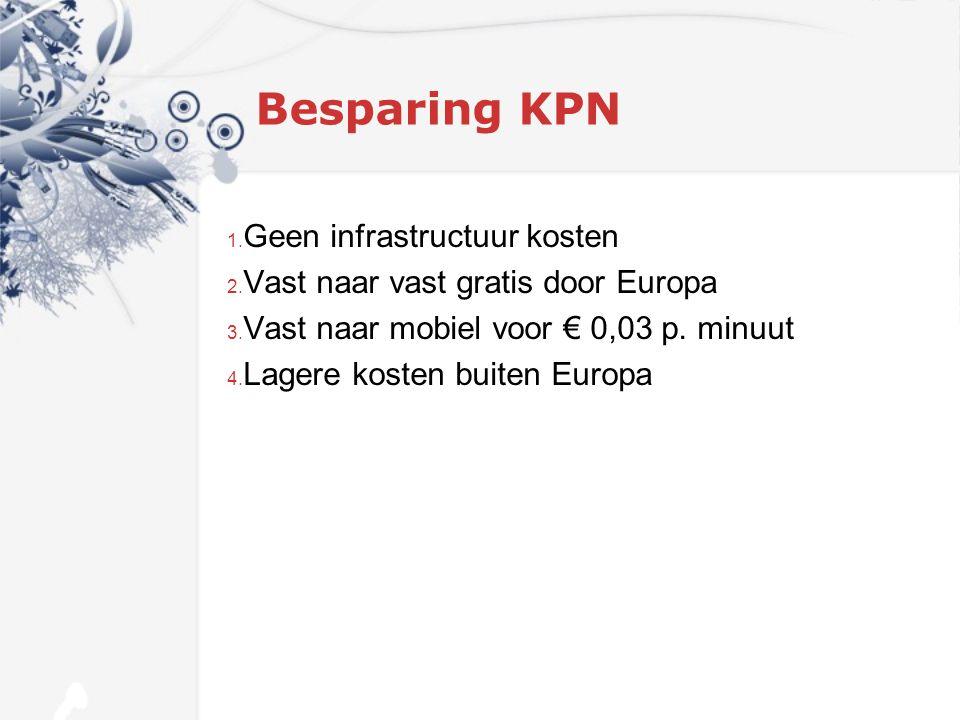 Besparing KPN 1. Geen infrastructuur kosten 2. Vast naar vast gratis door Europa 3.