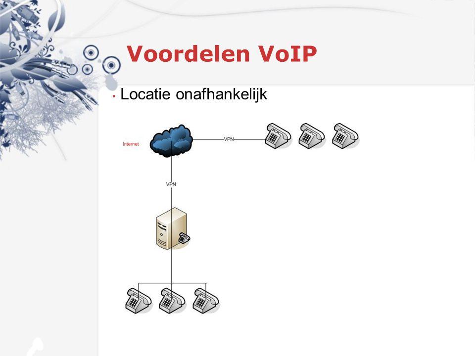 Voordelen VoIP Beheer via Inter- en Intranet Opname alle gesprekken Voicemail Wachtmuziek Conference Call Onbeperkt aantal lijnen (per toestel) Gepersonaliseerde begroetingen Statistieken per lijn en toestel Service Level Agreement Back-up mogelijkheden