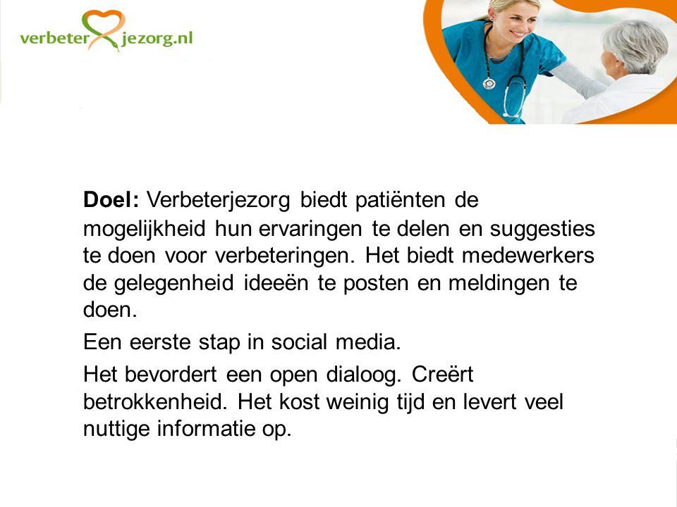 Doel: Verbeterjezorg biedt patiënten de mogelijkheid hun ervaringen te delen en suggesties te doen voor verbeteringen.