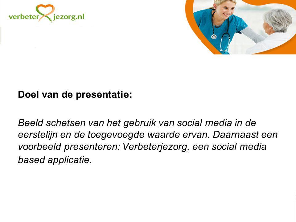 Doel van de presentatie: Beeld schetsen van het gebruik van social media in de eerstelijn en de toegevoegde waarde ervan.