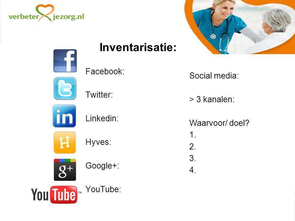 Inventarisatie: Facebook: Twitter: Linkedin: Hyves: Google+: YouTube: Social media: > 3 kanalen: Waarvoor/ doel.