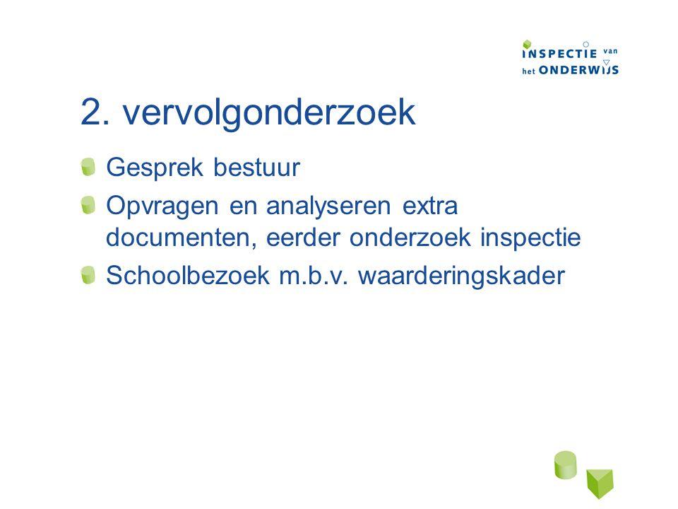2. vervolgonderzoek Gesprek bestuur Opvragen en analyseren extra documenten, eerder onderzoek inspectie Schoolbezoek m.b.v. waarderingskader
