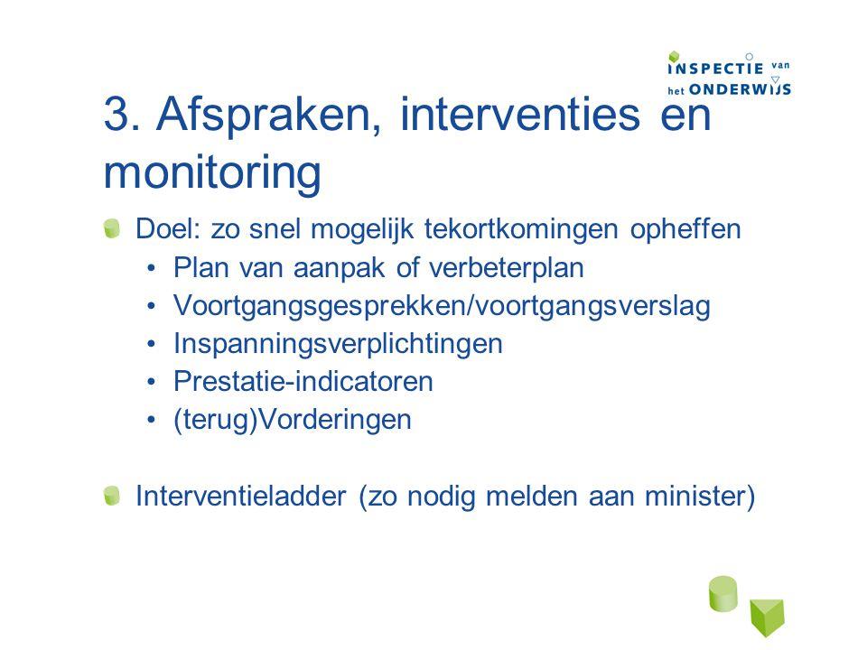 3. Afspraken, interventies en monitoring Doel: zo snel mogelijk tekortkomingen opheffen Plan van aanpak of verbeterplan Voortgangsgesprekken/voortgang