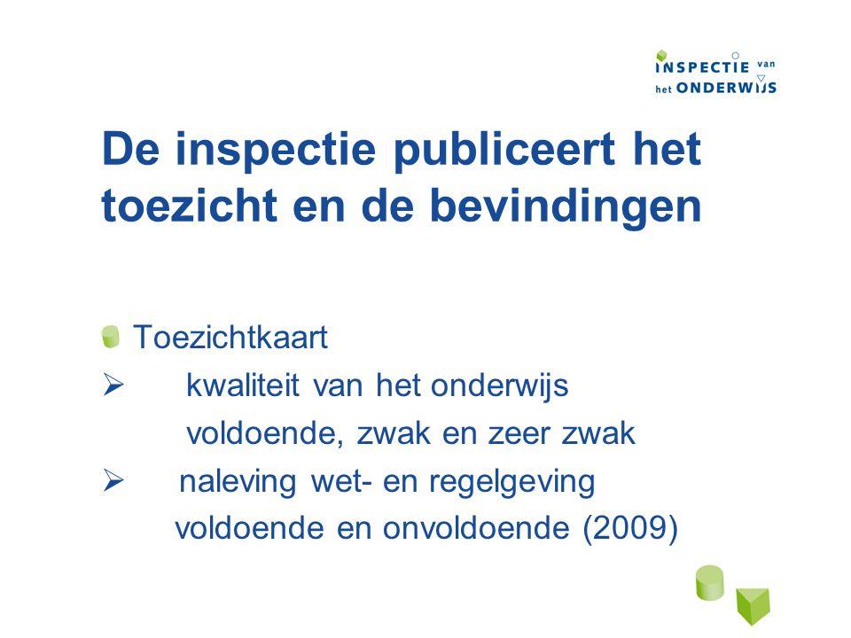 De inspectie publiceert het toezicht en de bevindingen Toezichtkaart  kwaliteit van het onderwijs voldoende, zwak en zeer zwak  naleving wet- en regelgeving voldoende en onvoldoende (2009)
