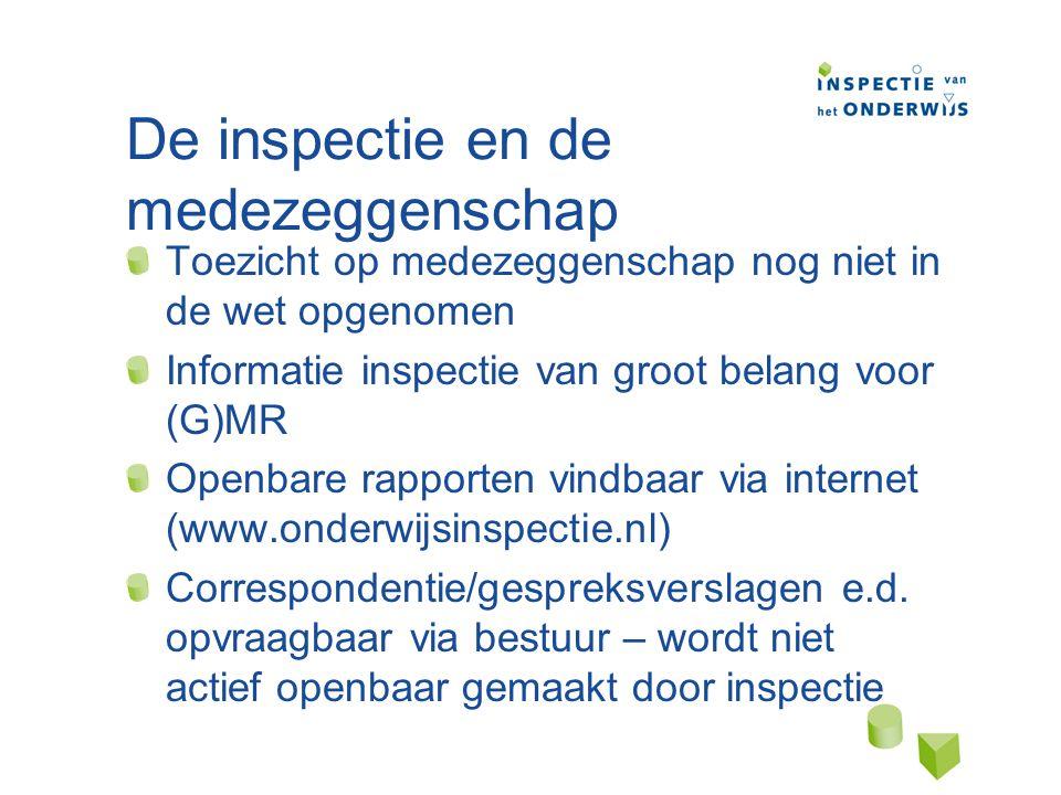 De inspectie en de medezeggenschap Toezicht op medezeggenschap nog niet in de wet opgenomen Informatie inspectie van groot belang voor (G)MR Openbare rapporten vindbaar via internet (www.onderwijsinspectie.nl) Correspondentie/gespreksverslagen e.d.