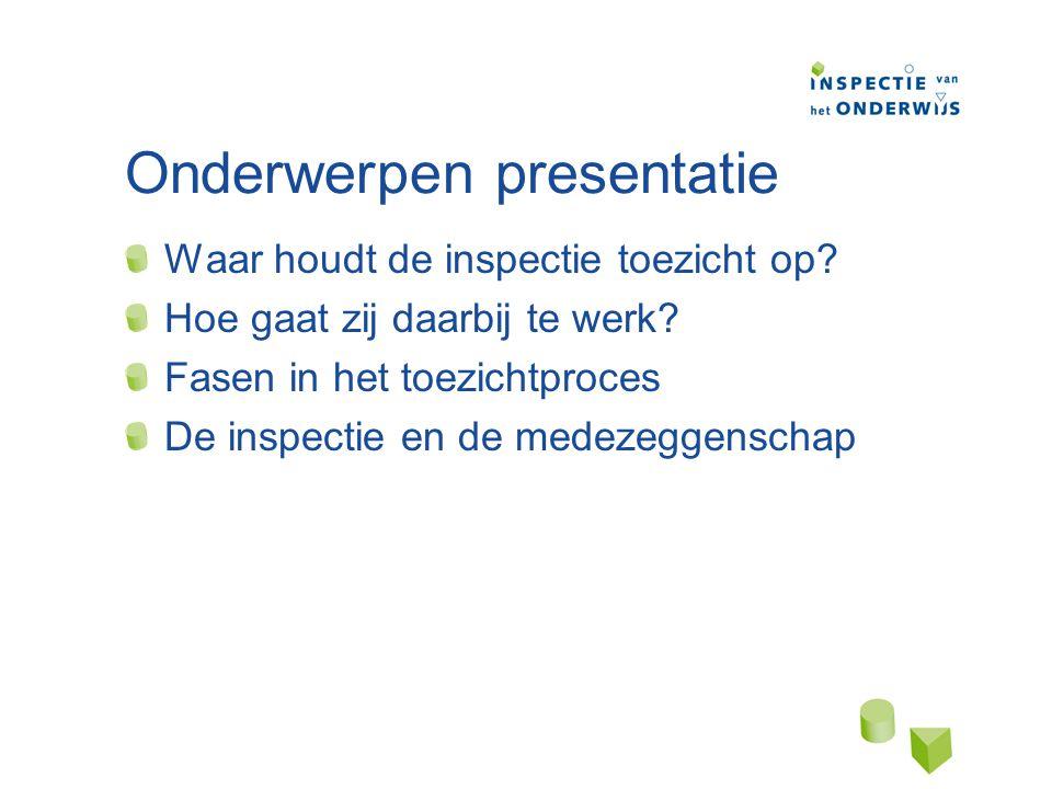 Onderwerpen presentatie Waar houdt de inspectie toezicht op.