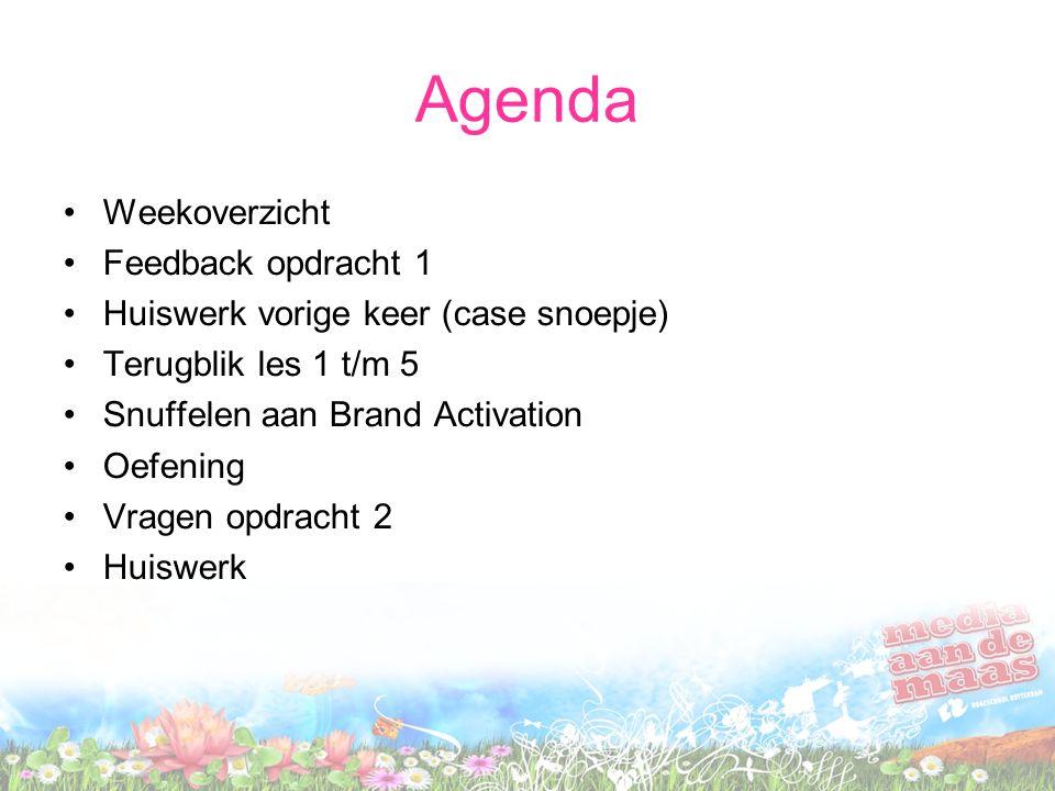 Agenda Weekoverzicht Feedback opdracht 1 Huiswerk vorige keer (case snoepje) Terugblik les 1 t/m 5 Snuffelen aan Brand Activation Oefening Vragen opdr