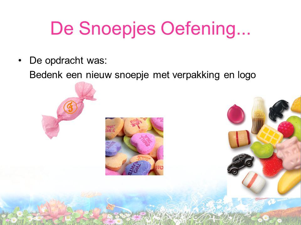 De Snoepjes Oefening... De opdracht was: Bedenk een nieuw snoepje met verpakking en logo