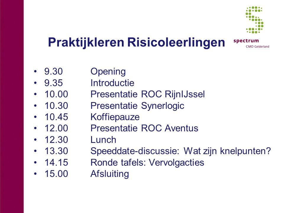 Praktijkleren Risicoleerlingen 9.30 Opening 9.35Introductie 10.00 Presentatie ROC RijnIJssel 10.30Presentatie Synerlogic 10.45Koffiepauze 12.00Presentatie ROC Aventus 12.30Lunch 13.30Speeddate-discussie: Wat zijn knelpunten.