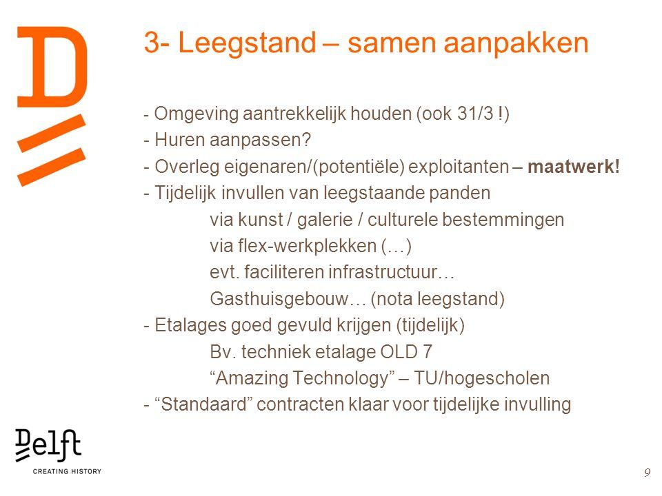 3- Leegstand – samen aanpakken - Omgeving aantrekkelijk houden (ook 31/3 !) - Huren aanpassen.
