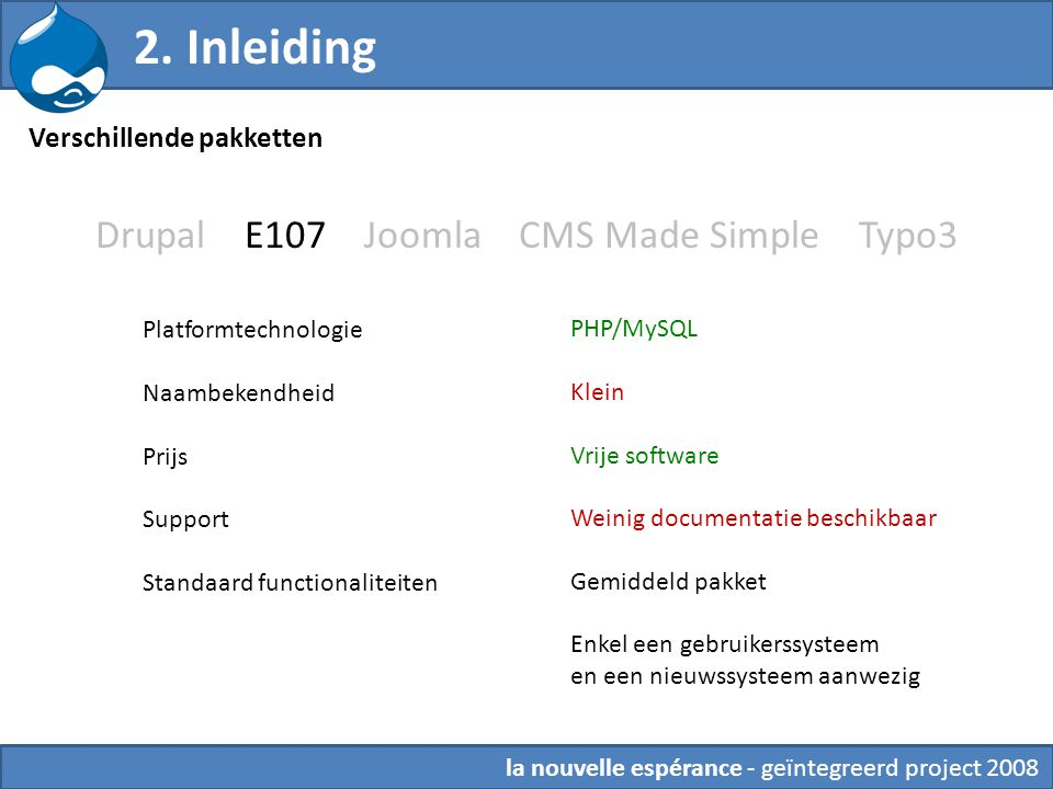 Drupal E107 Joomla CMS Made Simple Typo3 Platformtechnologie Naambekendheid Prijs Support Standaard functionaliteiten PHP/MySQL Klein Vrije software W