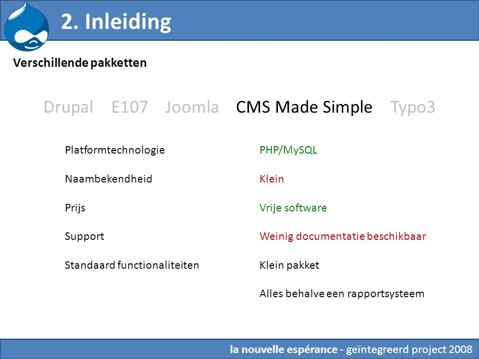 Drupal E107 Joomla CMS Made Simple Typo3 PHP/MySQL Klein Vrije software Weinig documentatie beschikbaar Klein pakket Alles behalve een rapportsysteem