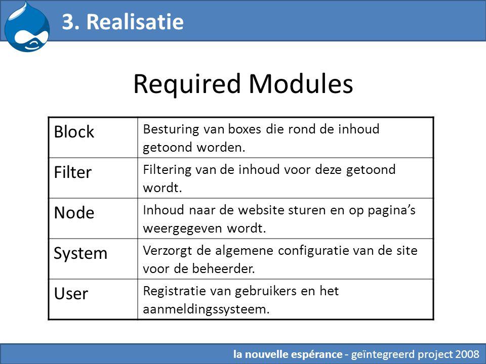 Required Modules 3. Realisatie Block Besturing van boxes die rond de inhoud getoond worden. Filter Filtering van de inhoud voor deze getoond wordt. No