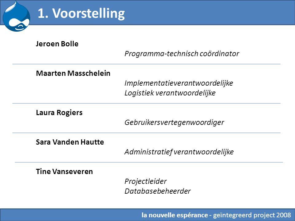 la nouvelle espérance - geïntegreerd project 2008 1. Voorstelling Jeroen Bolle Programma-technisch coördinator Maarten Masschelein Implementatieverant