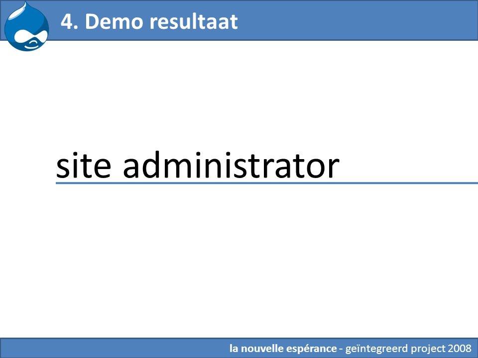 4. Demo resultaat site administrator