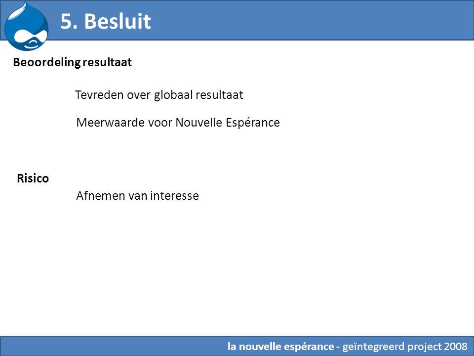 Beoordeling resultaat la nouvelle espérance - geïntegreerd project 2008 Tevreden over globaal resultaat Meerwaarde voor Nouvelle Espérance Risico Afne