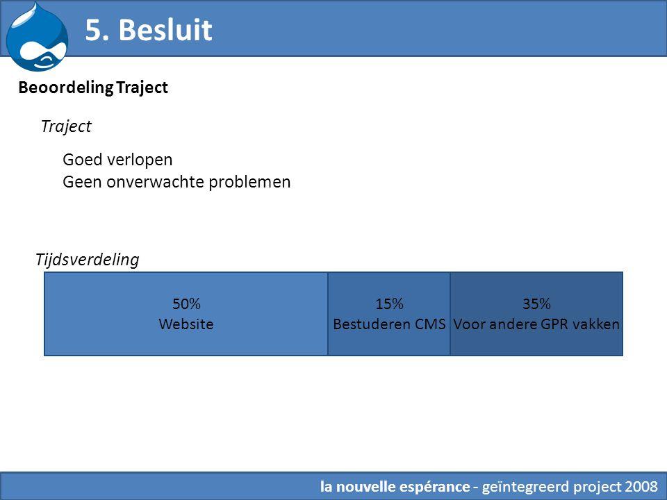 5. Besluit 50% Website 15% Bestuderen CMS 35% Voor andere GPR vakken Tijdsverdeling Beoordeling Traject Traject Goed verlopen Geen onverwachte problem