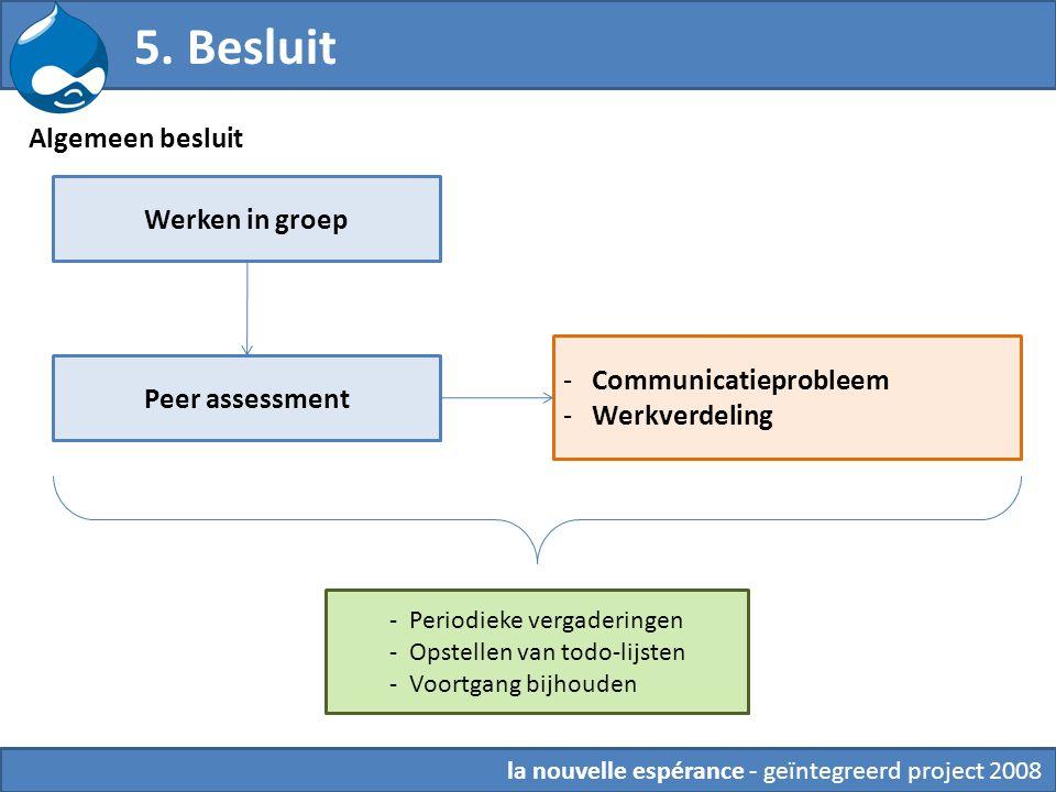 Algemeen besluit 5. Besluit Werken in groep Peer assessment - Communicatieprobleem - Werkverdeling - Periodieke vergaderingen - Opstellen van todo-lij