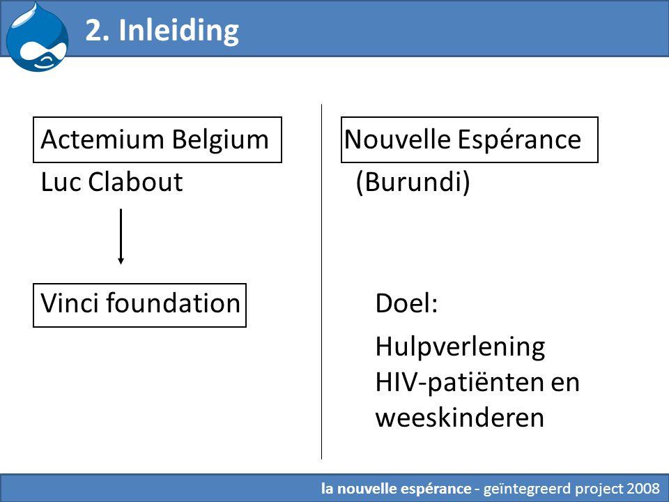 2. Inleiding Actemium Belgium Nouvelle Espérance Luc Clabout (Burundi) Vinci foundationDoel: Hulpverlening HIV-patiënten en weeskinderen la nouvelle e