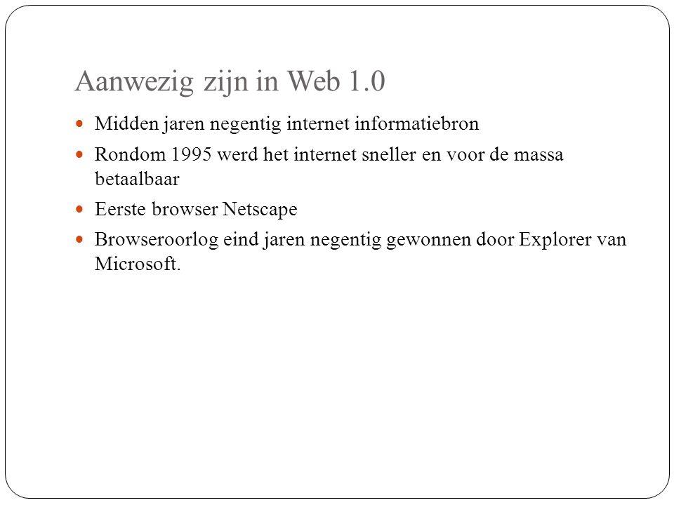 Aanwezig zijn in Web 1.0 Midden jaren negentig internet informatiebron Rondom 1995 werd het internet sneller en voor de massa betaalbaar Eerste browse