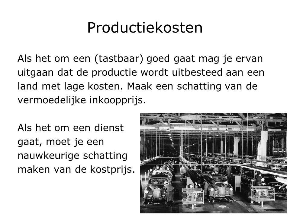 Productiekosten Als het om een (tastbaar) goed gaat mag je ervan uitgaan dat de productie wordt uitbesteed aan een land met lage kosten. Maak een scha